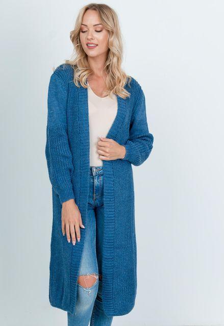 Dlhý modrý pletený kardigán