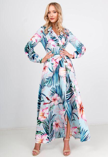 Modré spoločenské maxi šaty s kvetinovým motívom