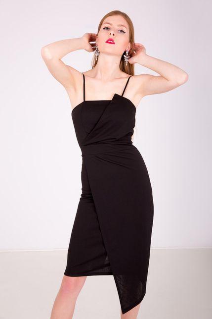 a6859c14cbbd Asymetrické midi čierne šaty na ramienka zväčšiť obrázok