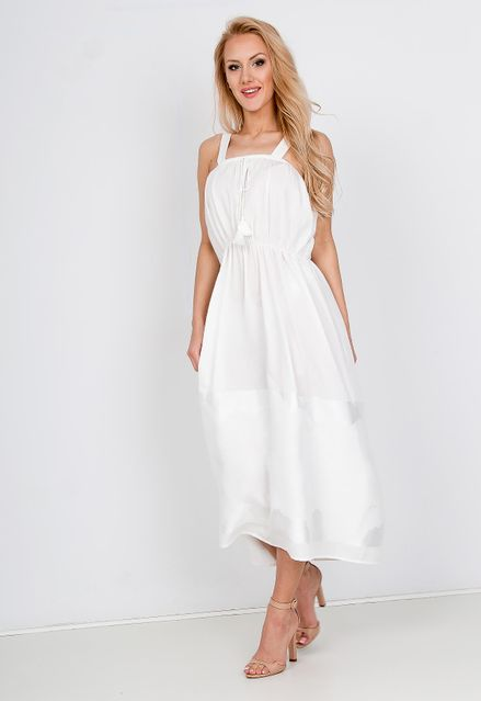 bc657f99a Elegantné biele midi šaty na ramienka - ROUZIT.SK