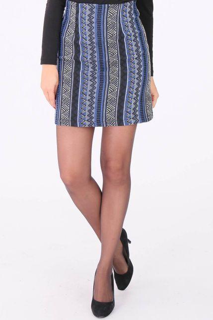 Modrá vzorovaná mini sukňa