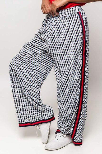 Modré vzorované dámske nohavice s pásikom