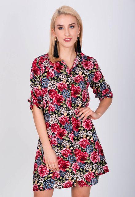 8afe9e92d695 Krátke kvetované košeľové šaty s dlhým rukávom - ROUZIT.SK
