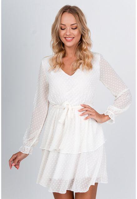 Štýlové biele vzdušné šaty s dlhým rukávom