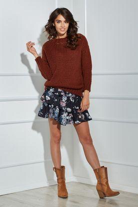 Teplý krátky dámsky hnedý oversize sveter