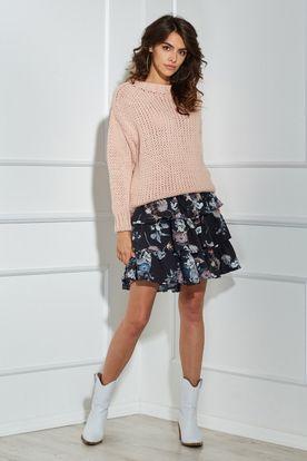 Teplý krátky dámsky ružový oversize sveter