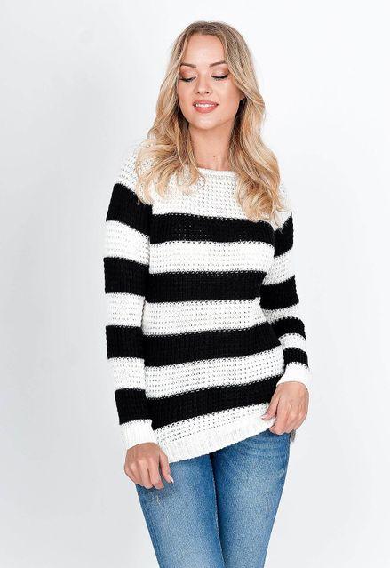 Oversize pruhovaný biely sveter