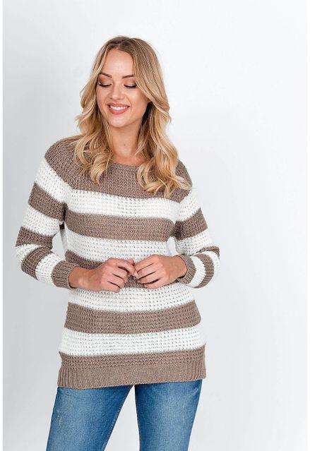 Oversize pruhovaný hnedý sveter