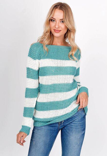 Oversize pruhovaný tyrkysový sveter