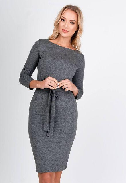 Polodlhé šedé púzdrové šaty s opaskom