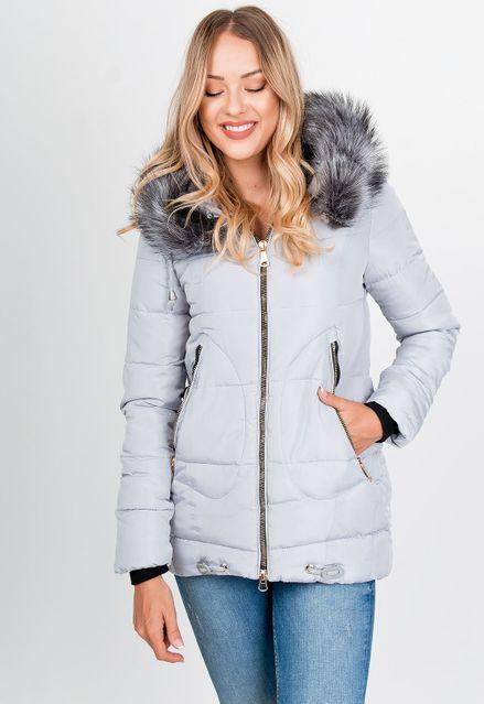 Dámska sivá zimná bunda s kapucňou