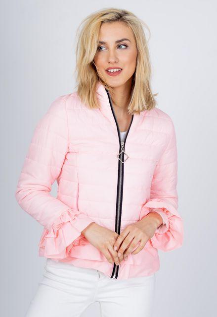 Prešívaná ružová bunda s volánmi