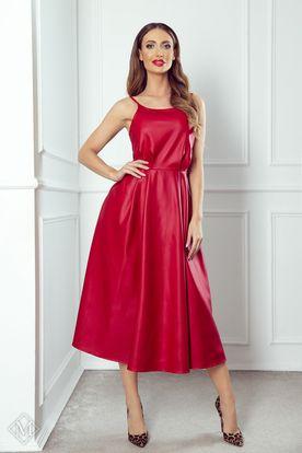Spoločenské midi šaty na ramienka červené