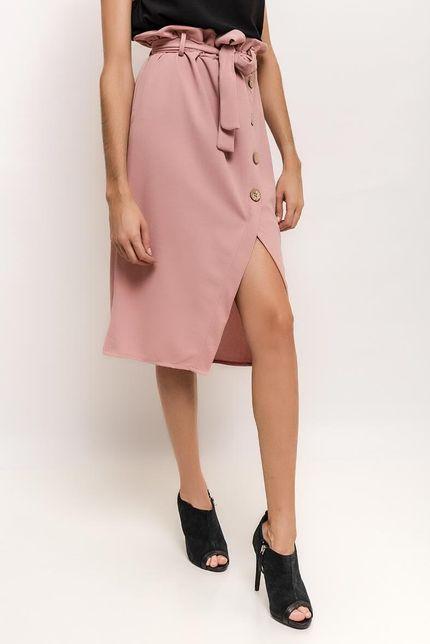 Ružová midi sukňa s gombíkmi