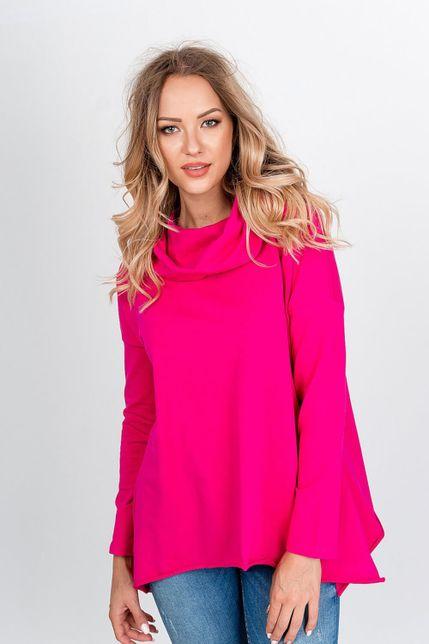Ružová tunika s dlhým rukávom a kapucňou