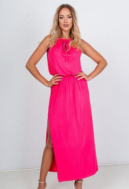 Elegantné dlhé ružové šaty s razporkom