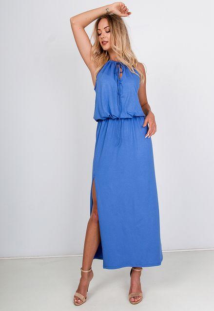 Elegantné dlhé modré šaty s razporkom