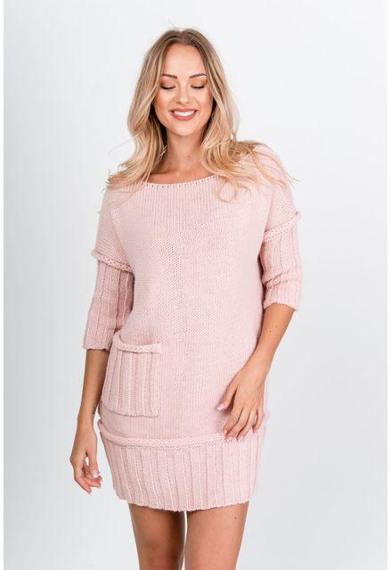 Krátke ružové úpletové šaty s vreckami