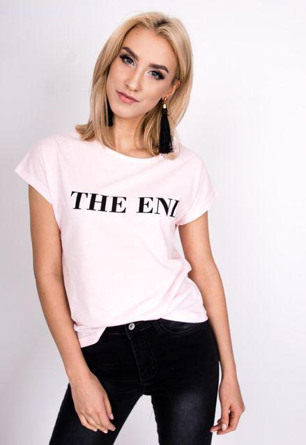 cd14702fc324 Ružové tričko s nápisom THE END zväčšiť obrázok. Klasické dámske tričko v ružovej  farbe s krátkym rukávom ...