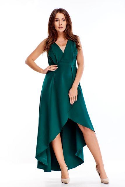 Večerné dlhé šaty s asymetrickým strihom zelené