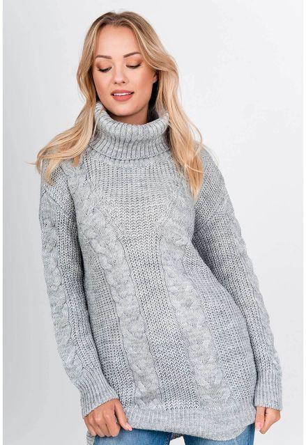 Vlnený sivý sveter s rolákom