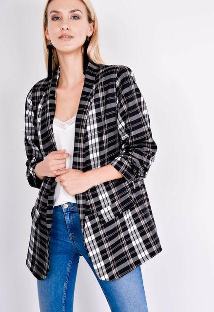 Voľné kockované čierno-biele sako