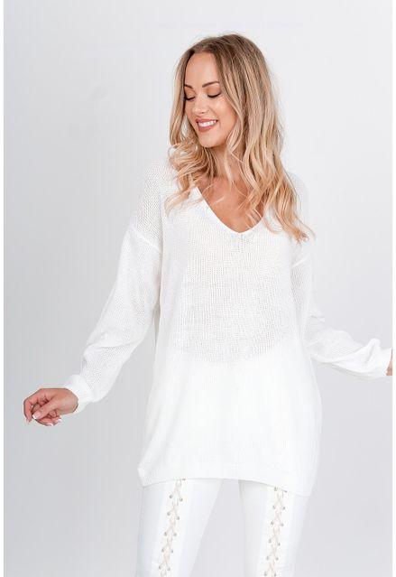 Voľný biely sveter s výstrihom do V (1)