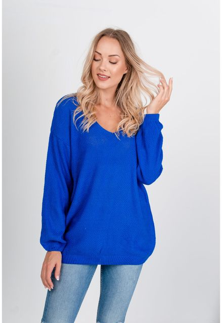 Voľný modrý sveter s výstrihom do V