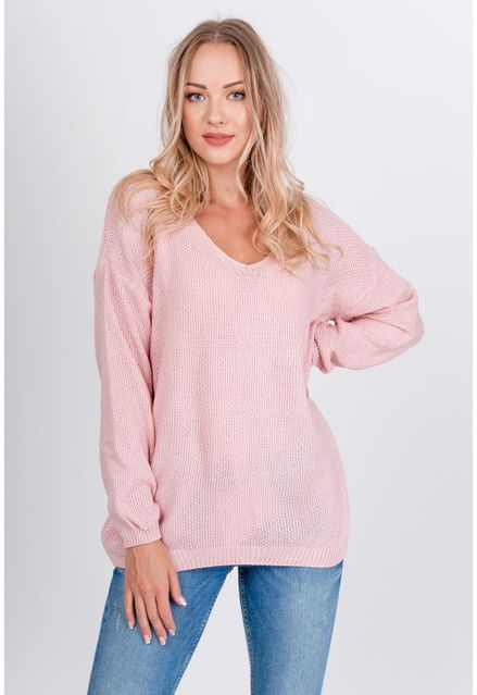 Voľný ružový sveter s výstrihom do V