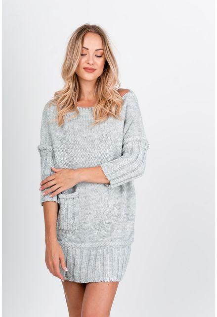Krátke sivé úpletové šaty s vreckami