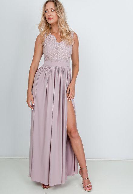 Dlhé spoločenské fialové šaty