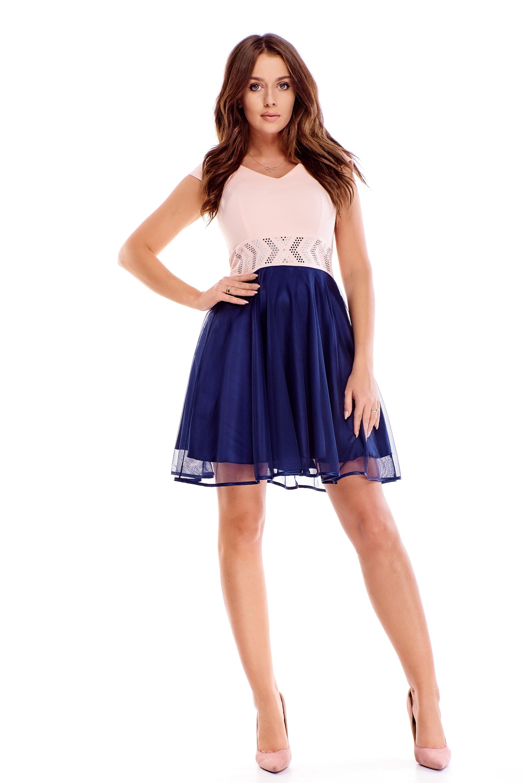 Ružovo-modré spoločenské šaty s kryštálmi v páse