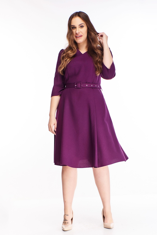 Áčkové krátke šaty s opaskom fialové - 48