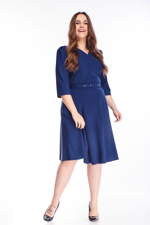Áčkové krátke šaty s opaskom námornícke modré - 40