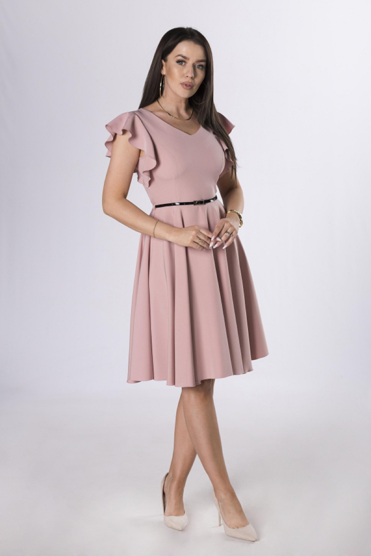 Ružové koktejlové šaty s opaskom - 42
