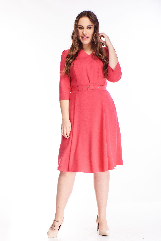 Áčkové krátke šaty s opaskom ružové - 40
