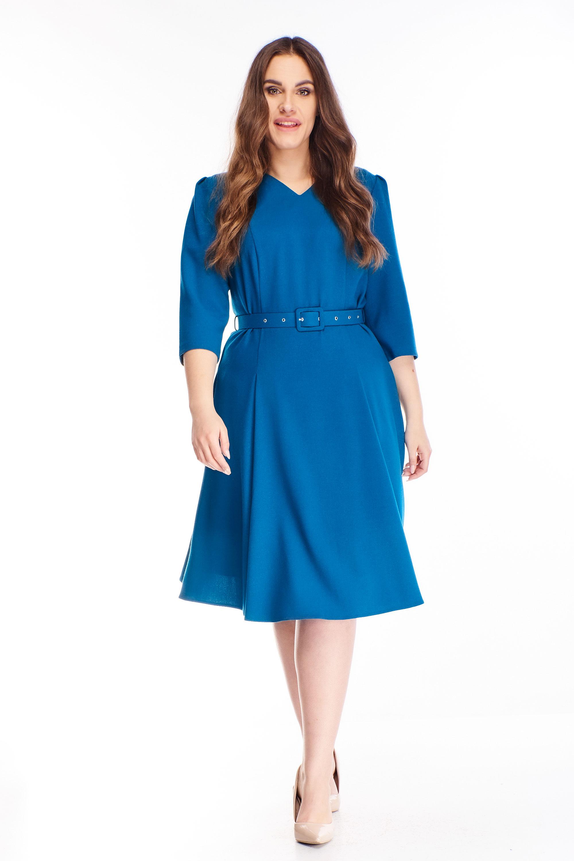 Áčkové krátke šaty s opaskom modré - 40