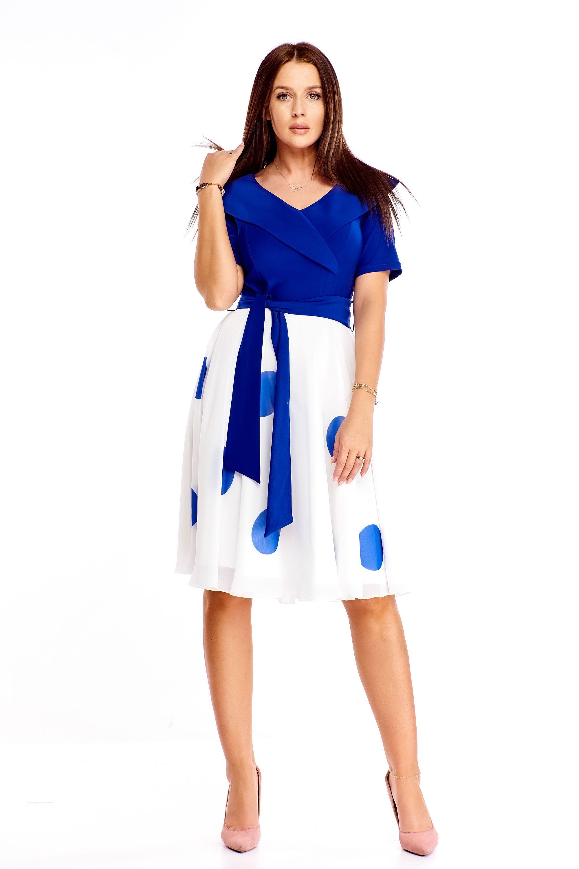 Modro-biele polodlhé šaty s golierom a stuhou - 50