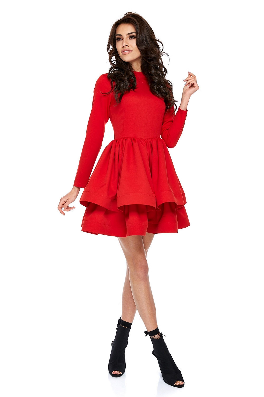 Červené šaty s rozšírenou sukňou a dlhými rukávmi - M