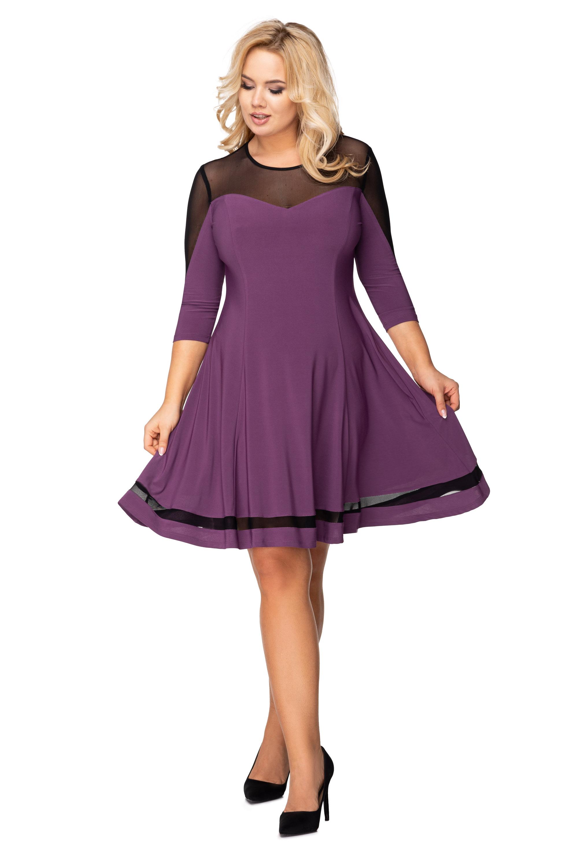 Krátke padavé šaty so sieťkou na rukávoch, výstrihu a chrbte fialové - 48