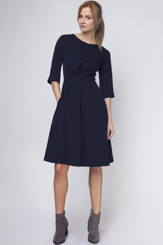 Krátke rozšírené šaty so záhybmi v páse námornícke modré - 38