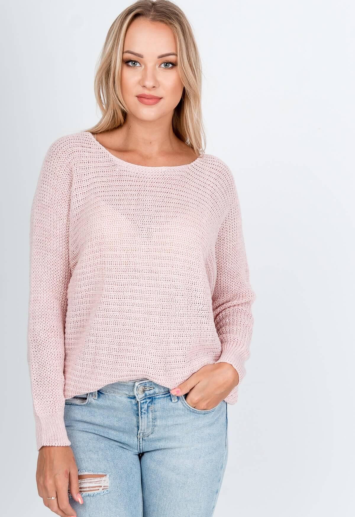 Ružový oversize sveter s okrúhlym výstrihom