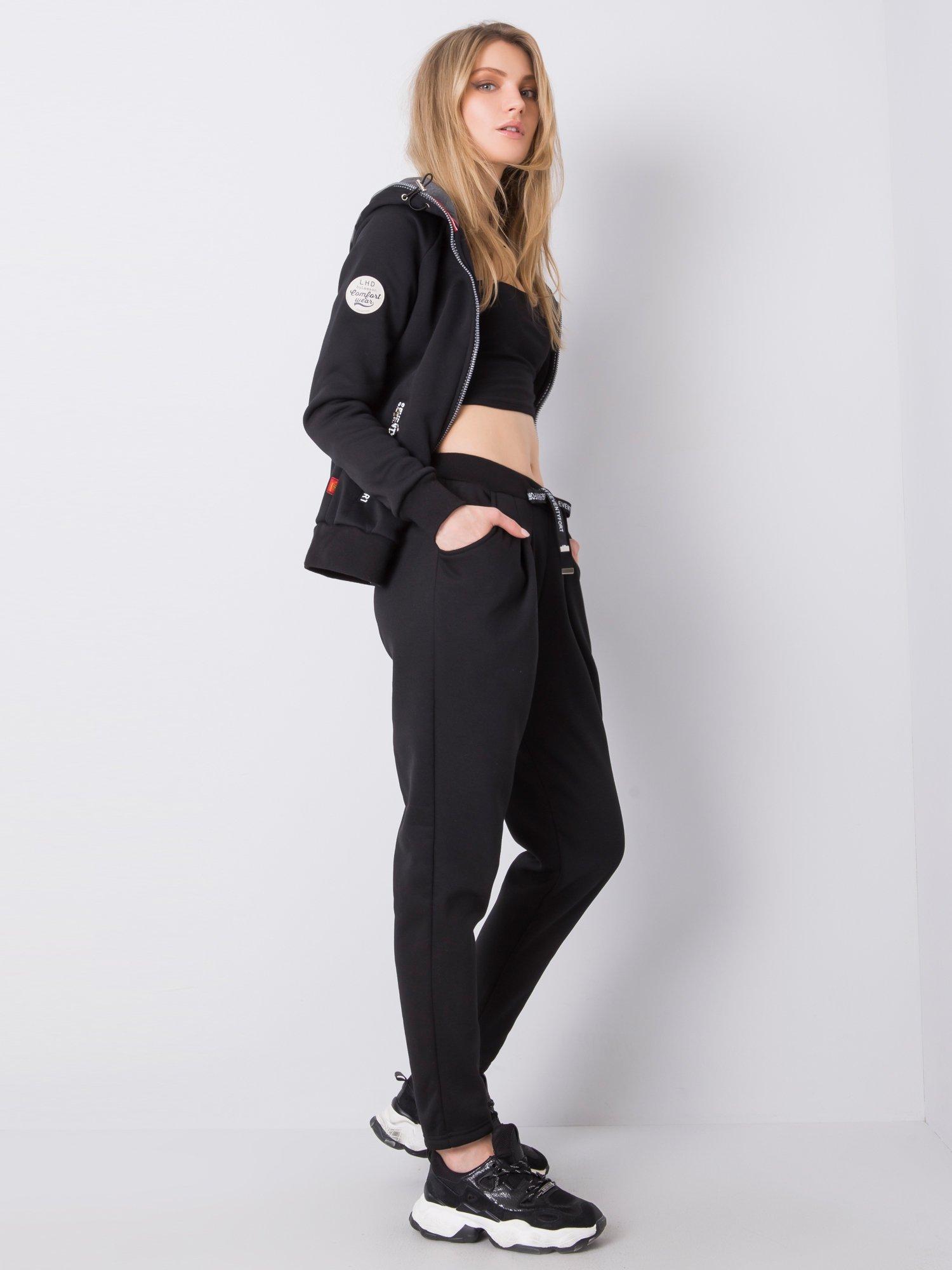 Čierna bavlnená súprava s kapucňou - XXL