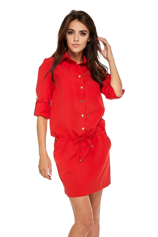 Krátke červené šaty s ozdobnými gombíkmi - M
