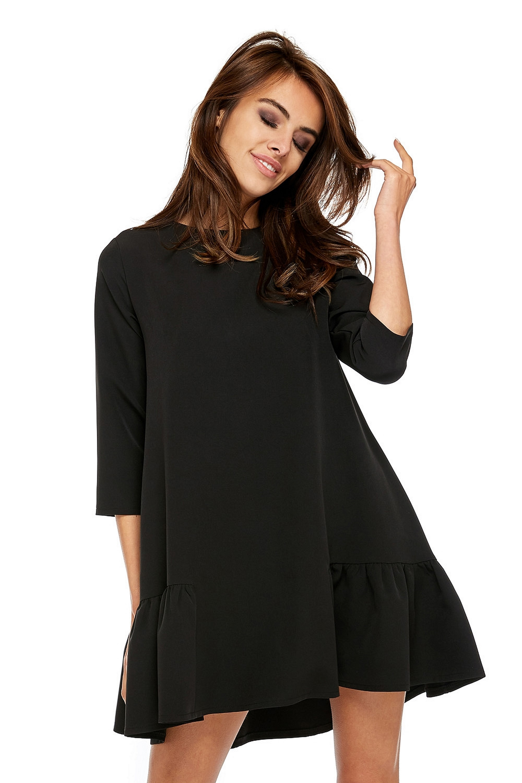 Jednoduché oversize šaty čierne - M
