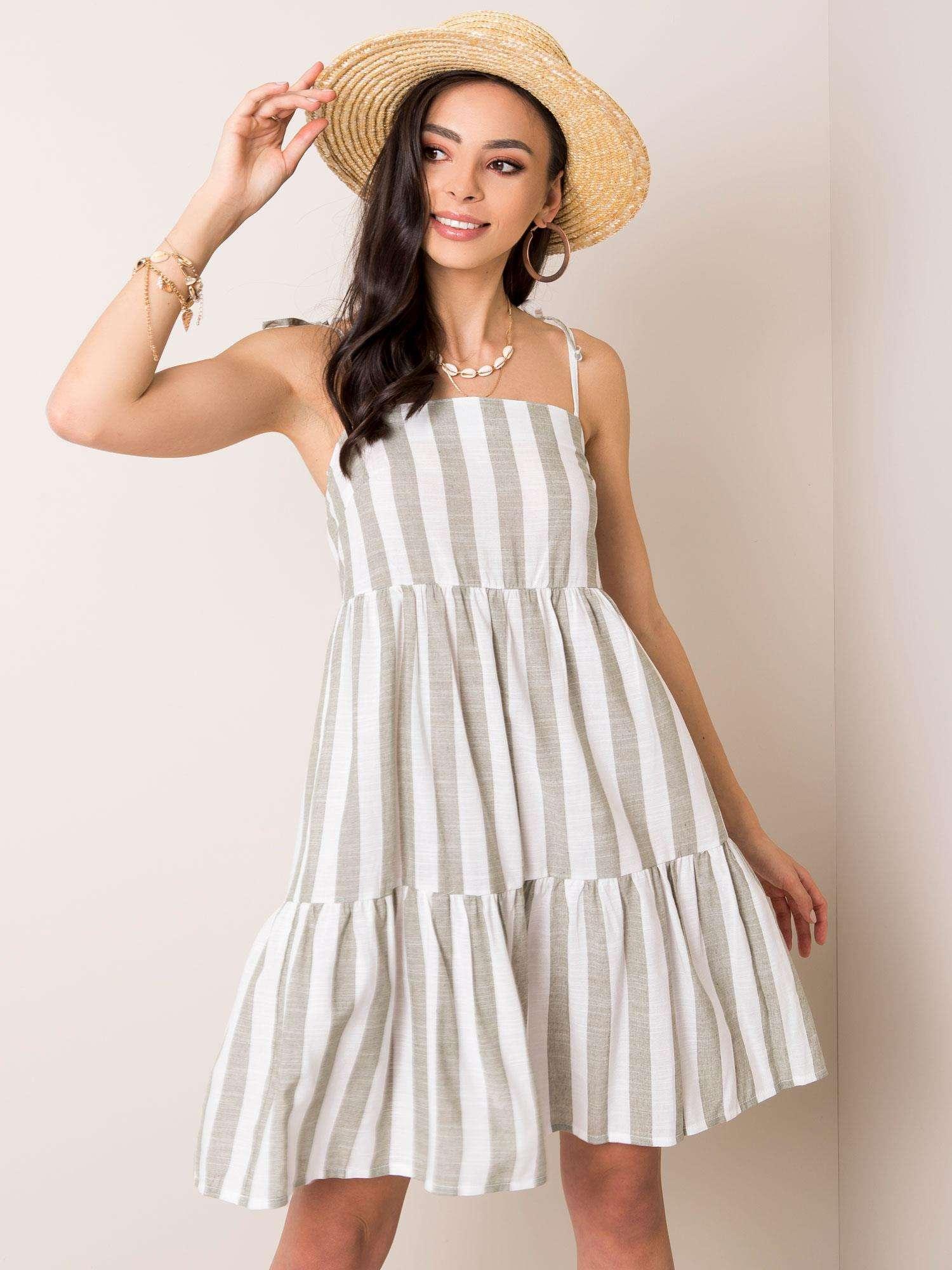Bielo-kaki pruhované šaty - 40