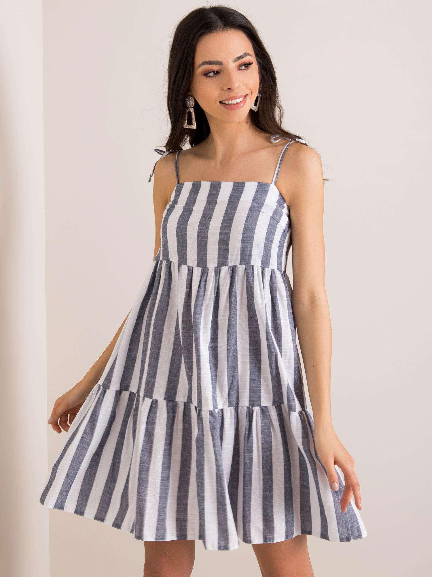 BIelo-modré pruhované šaty - 40