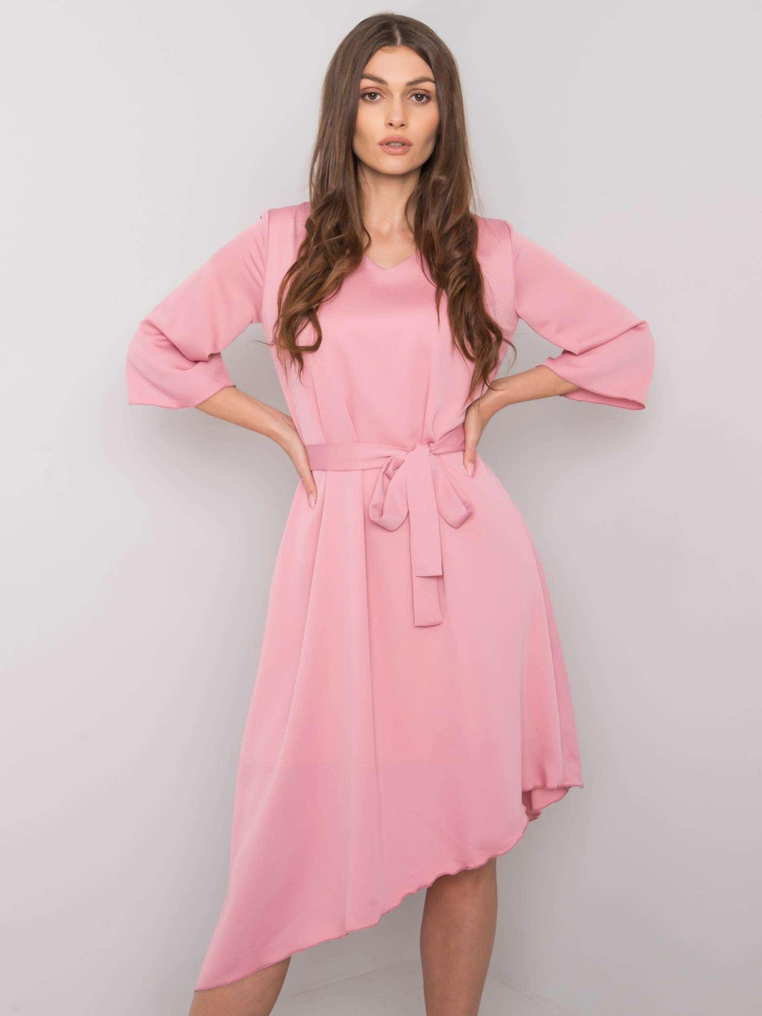 Dámske ružové asymetrické šaty s opaskom - 42