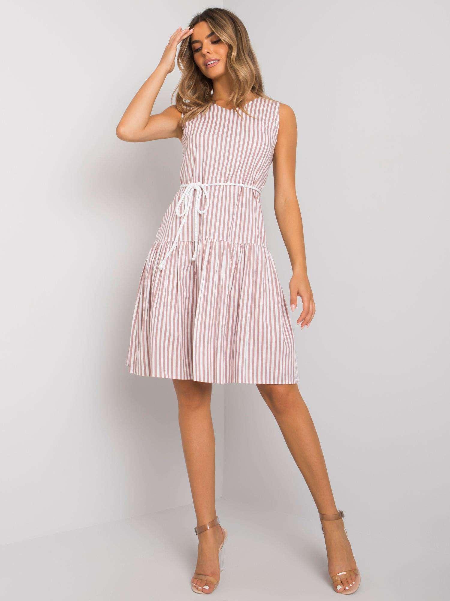 Dámske bielo-ružové pruhované šaty - 40