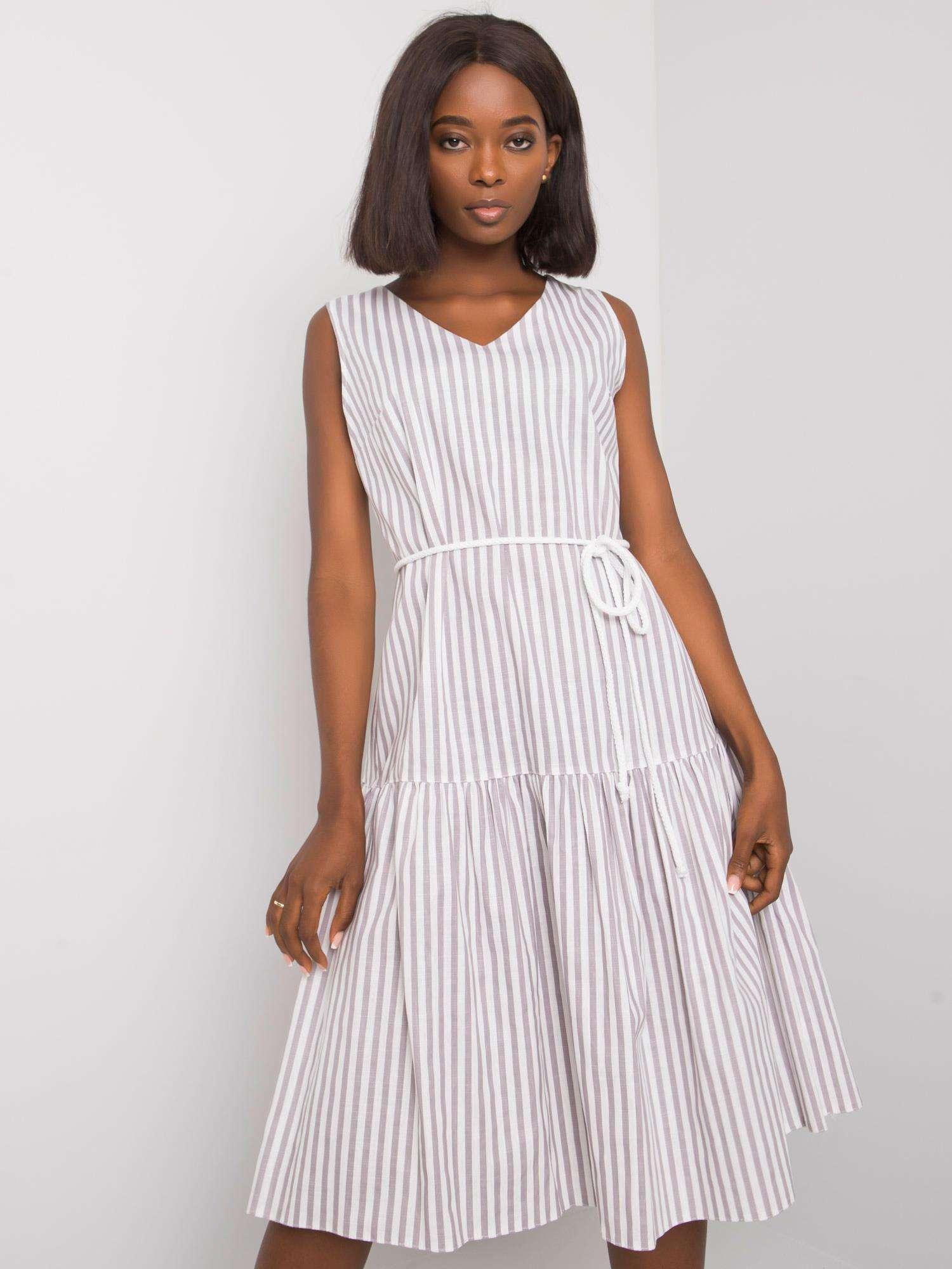 Dámske bielo-sivé pruhované šaty - 40